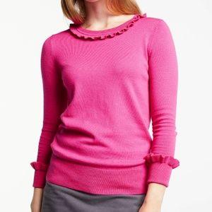 Boden Bernadette Ruffle Wool Blend Crew Sweater